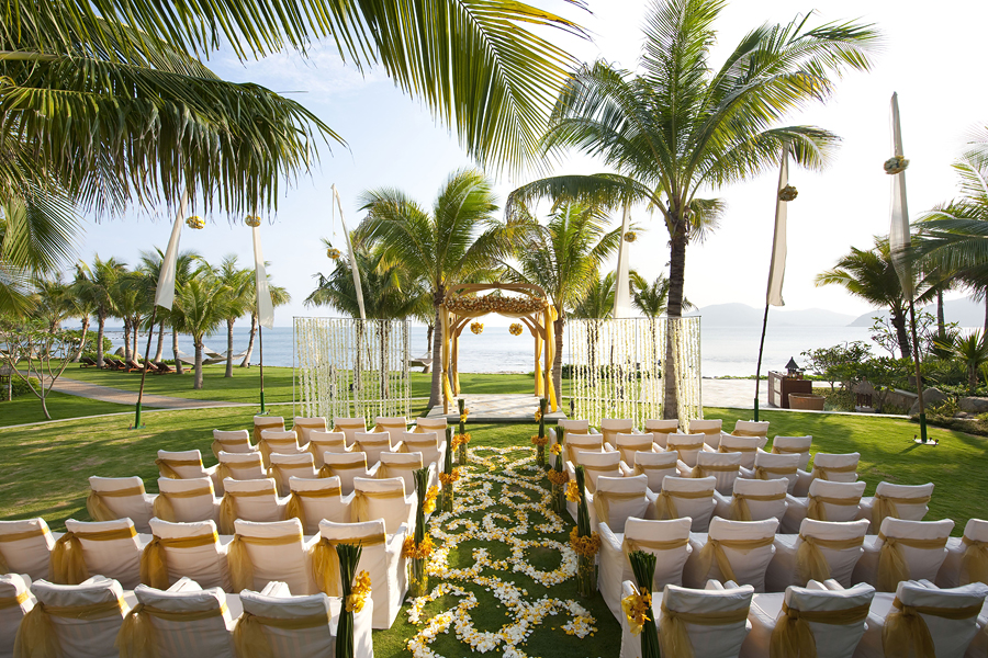 Garden beach wedding