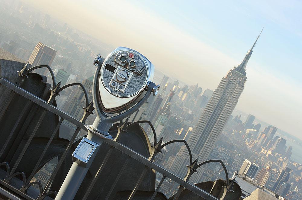 Смотровая площадка Top of the Rock, Рокфеллер-центр, Нью-Йорк, США, Северная Америка и Карибы